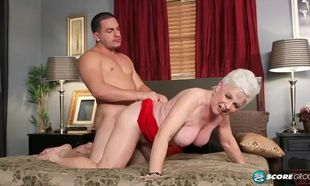Fabulous grannie plowed by young lady..