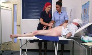 Uniformed Brit fetish nurses stroke
