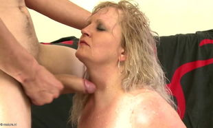 Huge-boobed mummy bangs fortunate home..