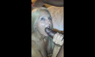 Blonde grandma gets so wet when she..