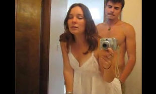 MILF in white dress has some bathroom..