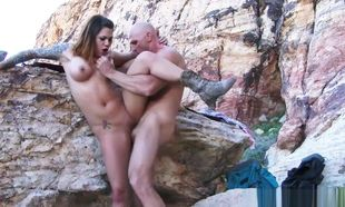 Karmen Karma nailing in the outdoors..